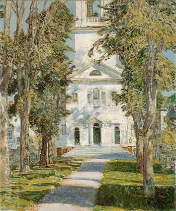 The Church at Gloucester 1918 - Childe Hassam reproduction oil painting