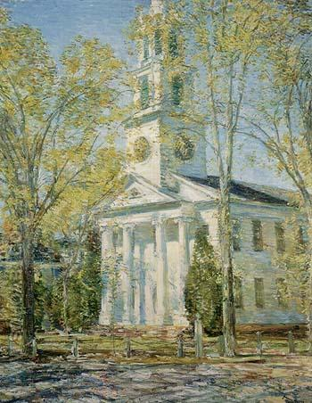 Church at Old Lyme 1906 - Childe Hassam reproduction oil painting