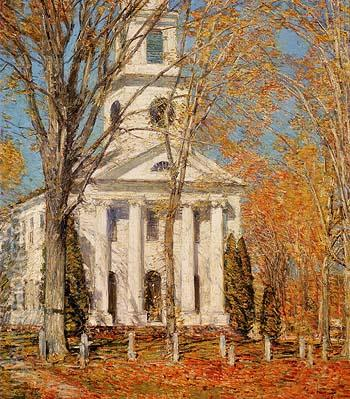 Church at Old Lyme 1905 - Childe Hassam reproduction oil painting
