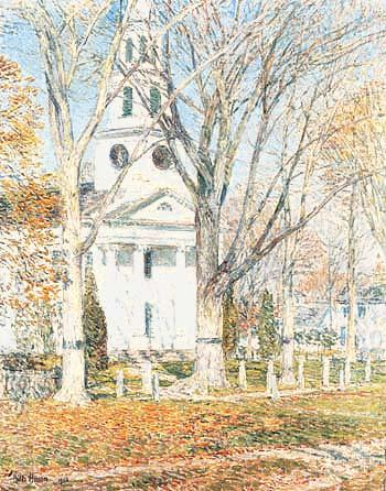 Church at Old Lyme 1903 - Childe Hassam reproduction oil painting