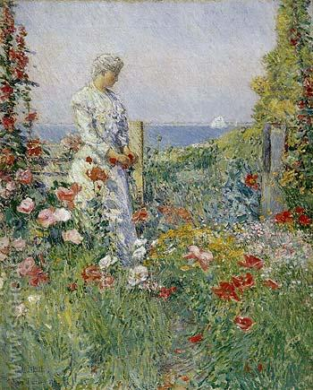 In the Garden Celia Thaxter in Her Garden 1892 - Childe Hassam reproduction oil painting