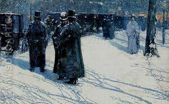 Cab Stand at Night Madison Square 1891 - Childe Hassam reproduction oil painting