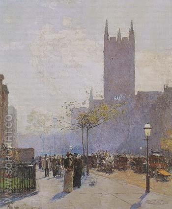 Lower Fifth Avenue 1890 - Childe Hassam reproduction oil painting
