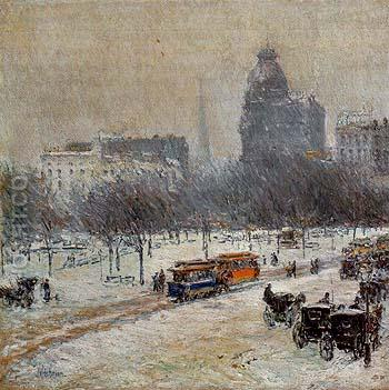 Winter in Union Square 1889 - Childe Hassam reproduction oil painting
