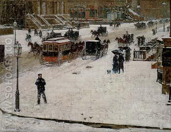 Fifth Avenue in Winter 1890 - Childe Hassam reproduction oil painting