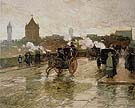 Clearing Sunset Corner of Berkeley Street and Columbus Avenue 1890 - Childe Hassam reproduction oil painting