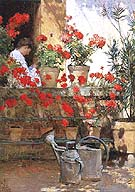 Geraniums 1888 - Childe Hassam reproduction oil painting