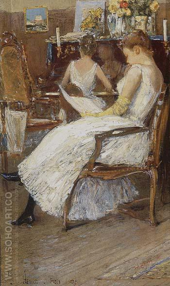 Mrs Hassam and Her Sister 1889 - Childe Hassam reproduction oil painting