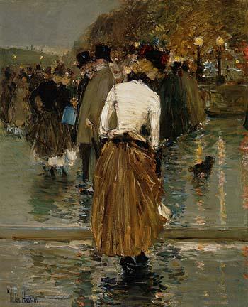 Promenade at Sunset Paris 1888 - Childe Hassam reproduction oil painting