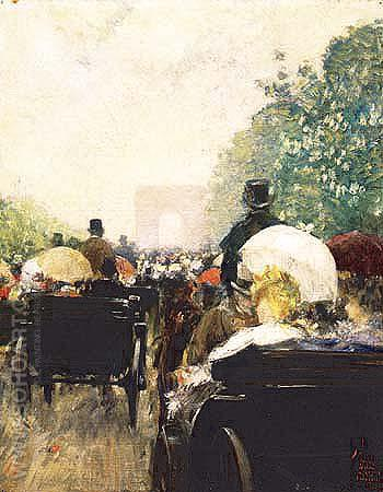 Carriage Parade 1888 - Childe Hassam reproduction oil painting
