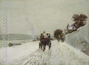 Along the Seine Winter 1887 - Childe Hassam reproduction oil painting