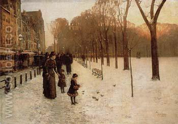 Boston Common at Twilight 1885 - Childe Hassam reproduction oil painting
