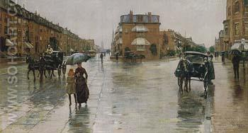 Rainy Day Columbus Avenue Boston 1885 - Childe Hassam reproduction oil painting