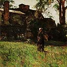 The Old Fairbanks House Dedham Massachusetts 1884 - Childe Hassam reproduction oil painting