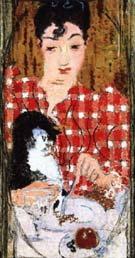 Checked Blouse; Portrait of Mme Claude Terrasse, the Artist's Sister 1892 - Pierre Bonnard