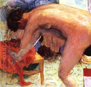 Nude Right Leg Raised 1924 - Pierre Bonnard reproduction oil painting