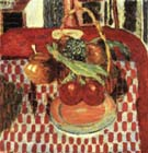 Basket and Plate of Fruit on a Red-checkered Tablecloth 1938 - Pierre Bonnard reproduction oil painting