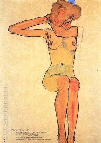 Seated Female Nude with Raised Right Arm. 1910 - Egon Scheile reproduction oil painting