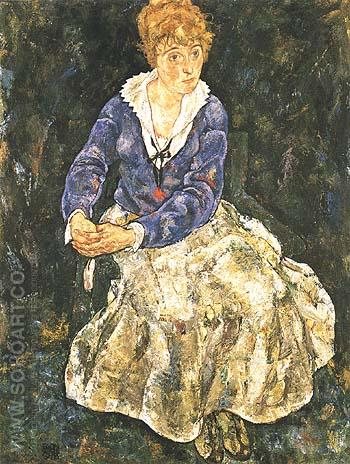 Portrait of the Artist's Wife, Seated 1918 - Egon Scheile reproduction oil painting