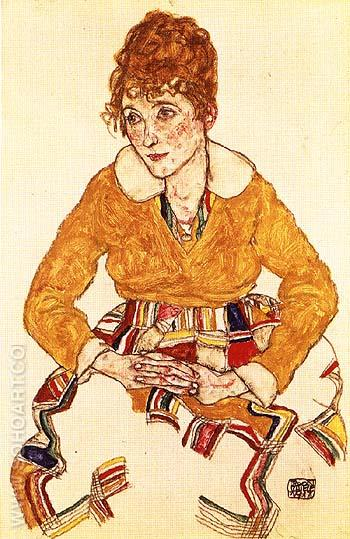 The Arist's Wife, Seated 1917 - Egon Scheile reproduction oil painting