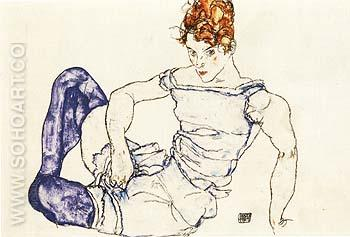 Seated Woman in Violet Stockings, 1917 - Egon Scheile reproduction oil painting