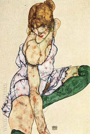 Blonde Girl in Green Stockings, 1914 - Egon Scheile reproduction oil painting