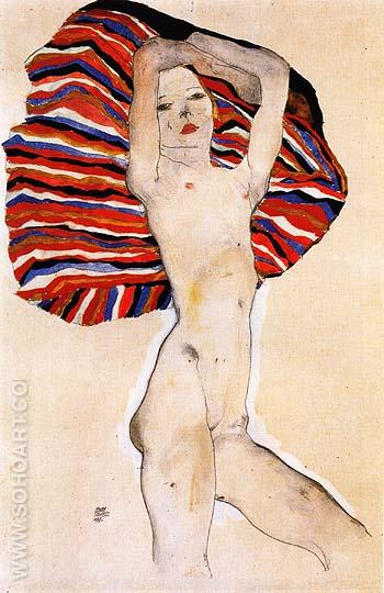 Nude on Coloured Fabric, 1911 - Egon Scheile reproduction oil painting