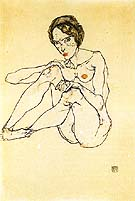 Nude Woman 1914 - Egon Scheile reproduction oil painting
