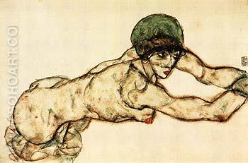 Reclining Female with Green Cap, Leaning to the Right, 1914 - Egon Scheile reproduction oil painting