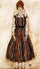 Portrait of the Artist's Wife, Standig (Edith Schiele in Striprd Dress) 1915 - Egon Scheile reproduction oil painting