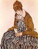 Edith Schiele, Seated, 1915 - Egon Scheile reproduction oil painting