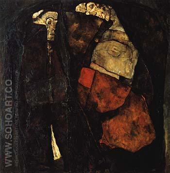 Pregnant Woman and Death (Mother and Death) 1911 - Egon Scheile reproduction oil painting