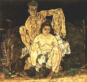 The Family (Squatting Couple) 1918 - Egon Scheile reproduction oil painting