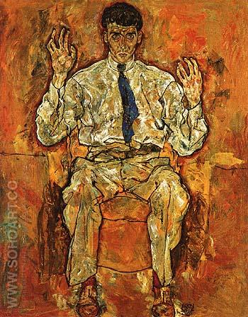 Portrait of the Painter Paris von Gutersloh 1918 - Egon Scheile reproduction oil painting