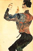 Self-Portrait with Raised Arms, Back View 1912 - Egon Scheile reproduction oil painting