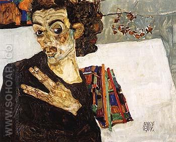 Self-Portrait with Black Clay Vase and Spread Fingers 1911 - Egon Scheile reproduction oil painting