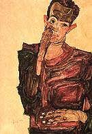 Self-Portrait with Hand to Cheek 1910 - Egon Scheile reproduction oil painting