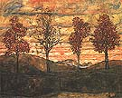 Four Trees 1917 - Egon Scheile reproduction oil painting