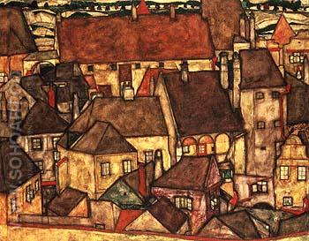 Yellow City 1914 - Egon Scheile reproduction oil painting