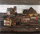 Suburb I 1914 - Egon Scheile reproduction oil painting