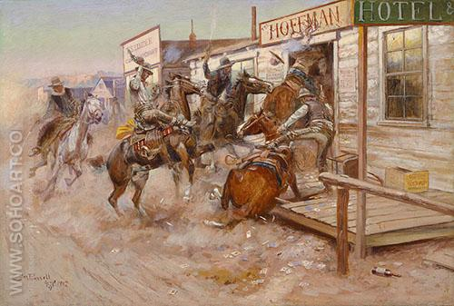 In Without Knocking - Charles M Russell reproduction oil painting