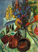 Still Life with Jug and African Bowl - Ernst Kirchner reproduction oil painting