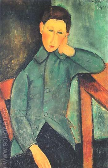 Boy with Blue Waistcoat 1919 - Amedeo Modigliani reproduction oil painting