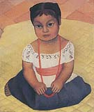 Kneeling Child on Yellow Background - Diego Rivera