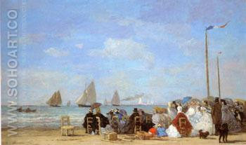 Beach Scene at Trouville 1863 - Eugene Boudin reproduction oil painting