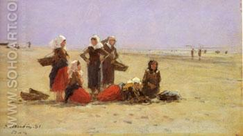 Women on the Beach at Berck 1881 - Eugene Boudin reproduction oil painting