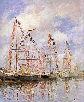 Yacht Basin at Trouville Deauville - Eugene Boudin reproduction oil painting