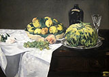 Still Life with Melon and Peaches 1866 - Edouard Manet reproduction oil painting