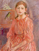 Artist's Daughter with a Parakeet - Berthe Morisot reproduction oil painting