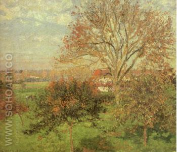 Autumn Morning at Eragny 1897 - Camille Pissarro reproduction oil painting